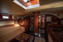 An interior view of the midships cabin