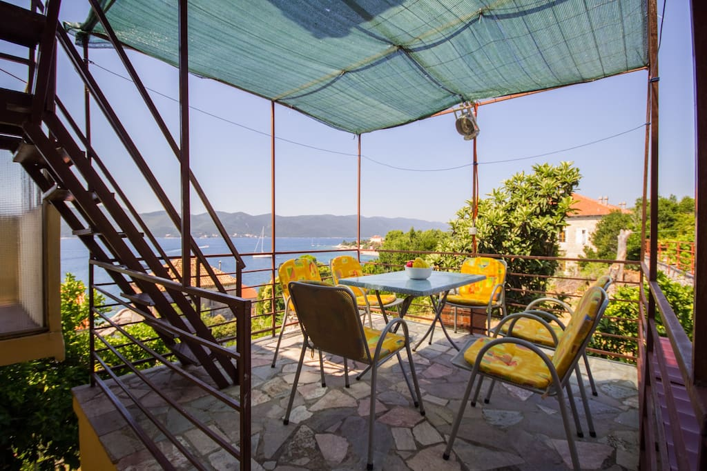 Terrace overlooking the sea and the island of Korcula