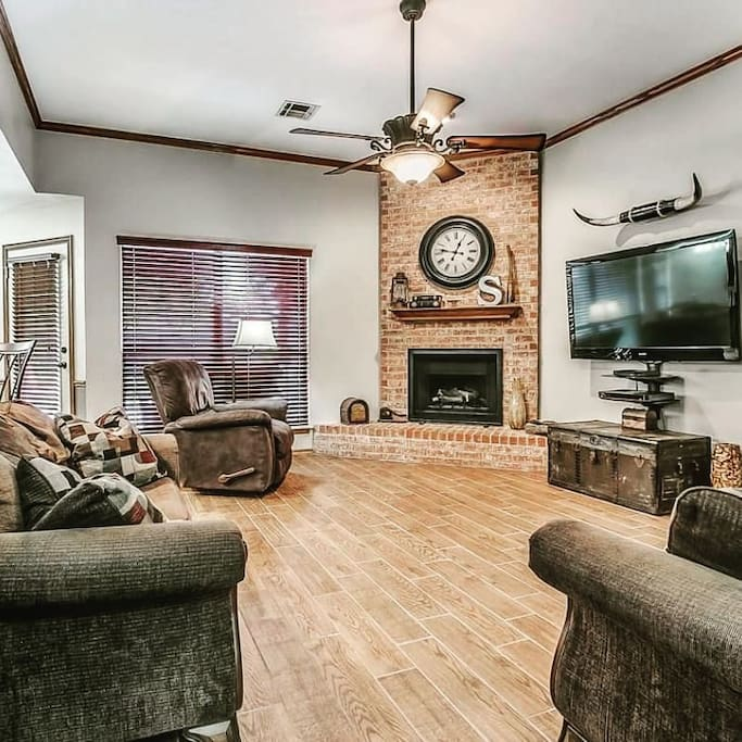 Real Estate Pic of Living Room prior to me moving in.  Will look different
