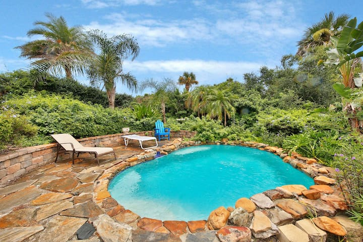 Dog-friendly, oceanview home w/private pool & decks - walk to beach