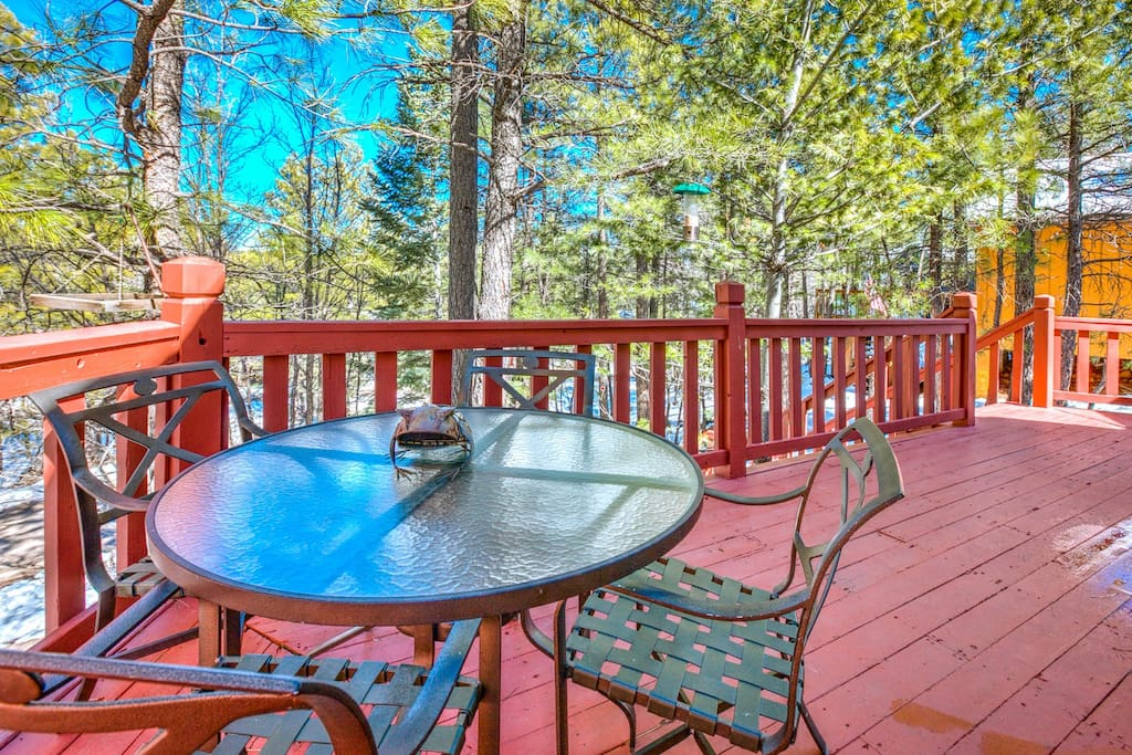 Expansive front deck surrounded by trees. Great for breakfast, lunch, dinner, playing games or bird-watching.
