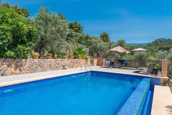 "Holiday Home ""Can Tamany"" with Mountain View, Shared Pool, Shared Garden & WiFi; Parking Available"