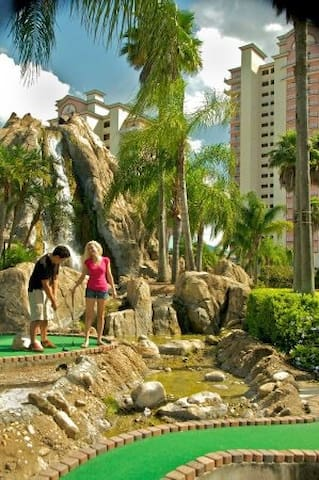 Mini golf right next to building