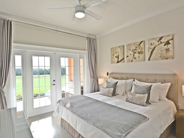 The master bedroom has a king bed with the highest quality mattress and linens