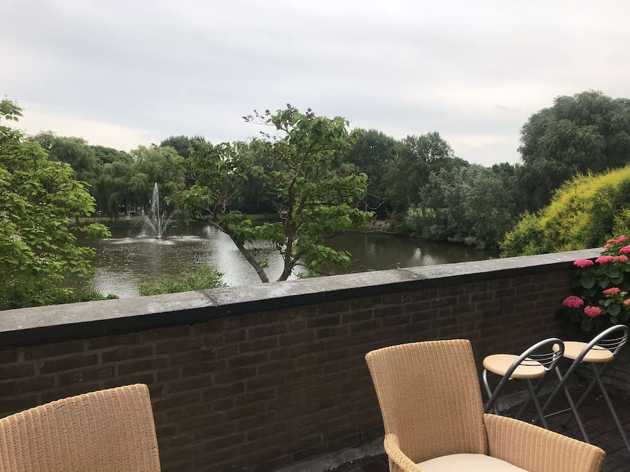 This is our lakeside terrace and view of the fountain... Beautiful surroundings, peaceful and quiet.