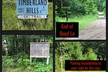 Apps do not give correct directions - maps will be emailed before your reservation, but watching for these landmarks will help too.  The blue sign is at Co. Rd H & Boyd Ln.  At 1 mi Boyd Ln ends & the Ice Age Tr begins - turn left into parking area.