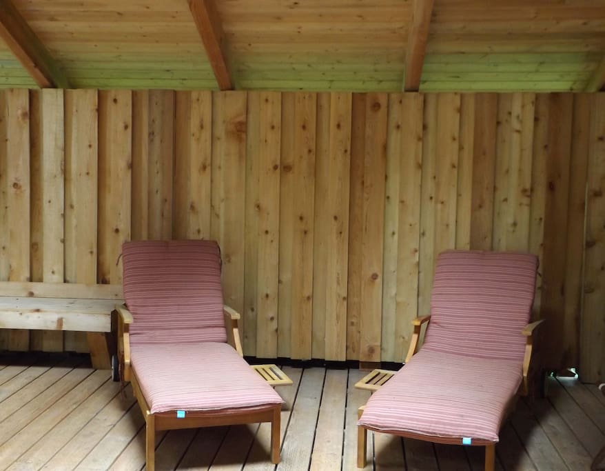 Relax on the covered deck