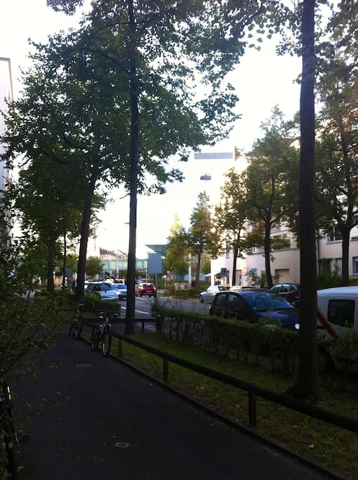 This is right in front of the apartment and you can see Baselworld right there!