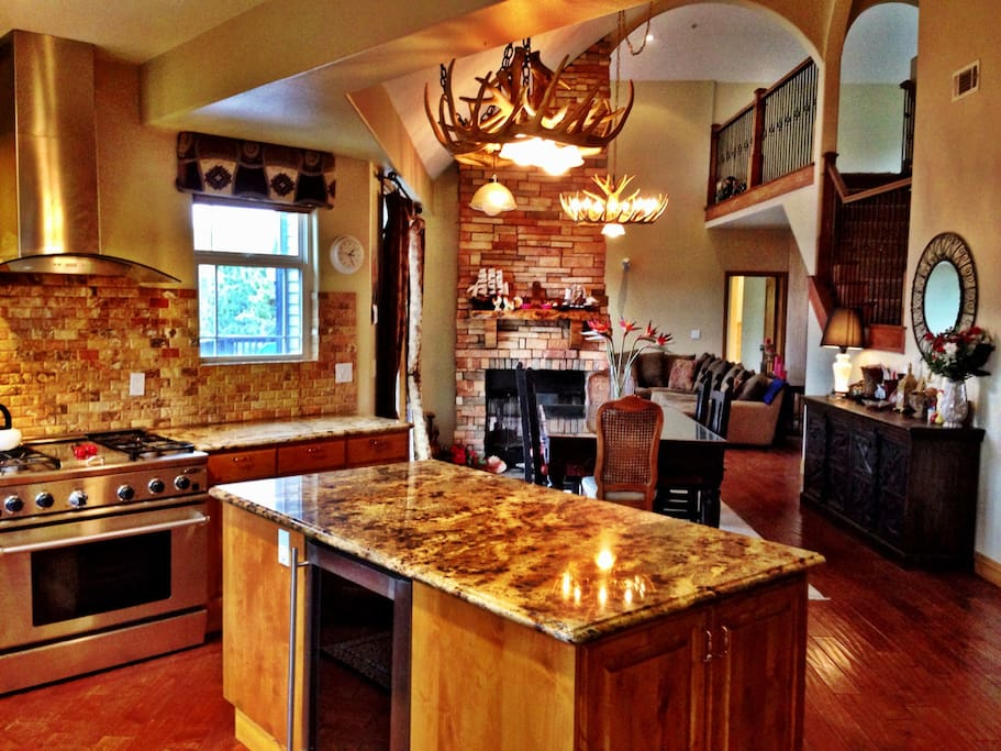 Large kitchen with island.