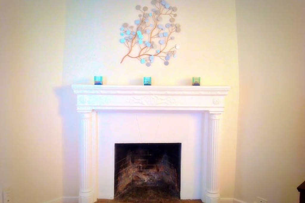 cozy and decorative fireplace