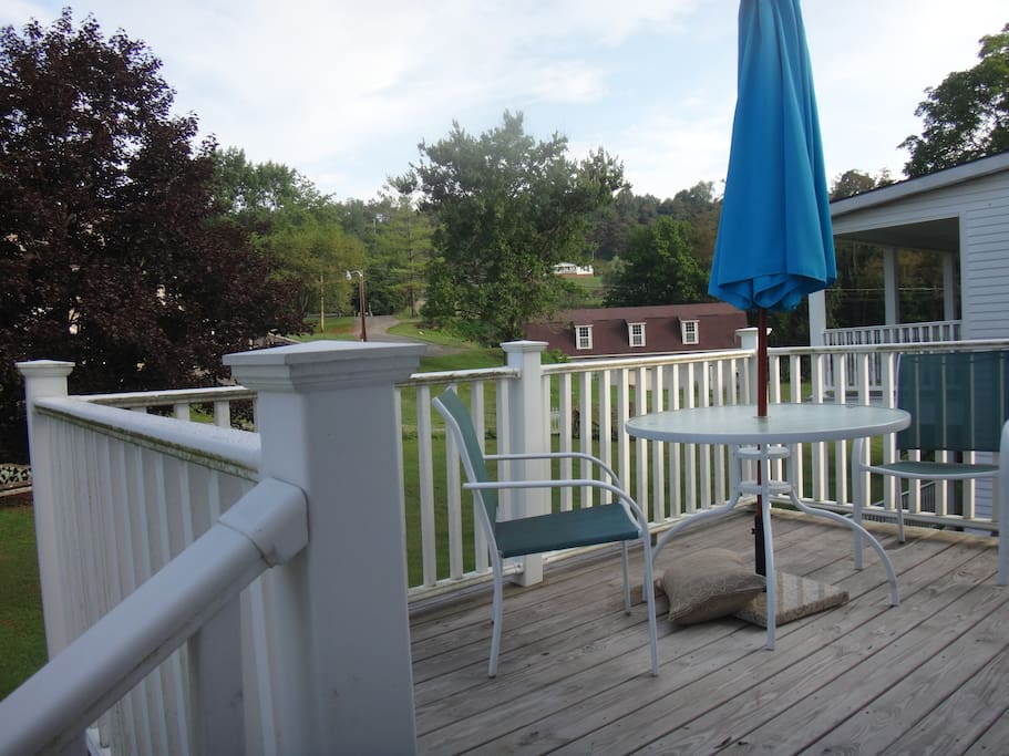 Deck with outdoor furniture/gas grill