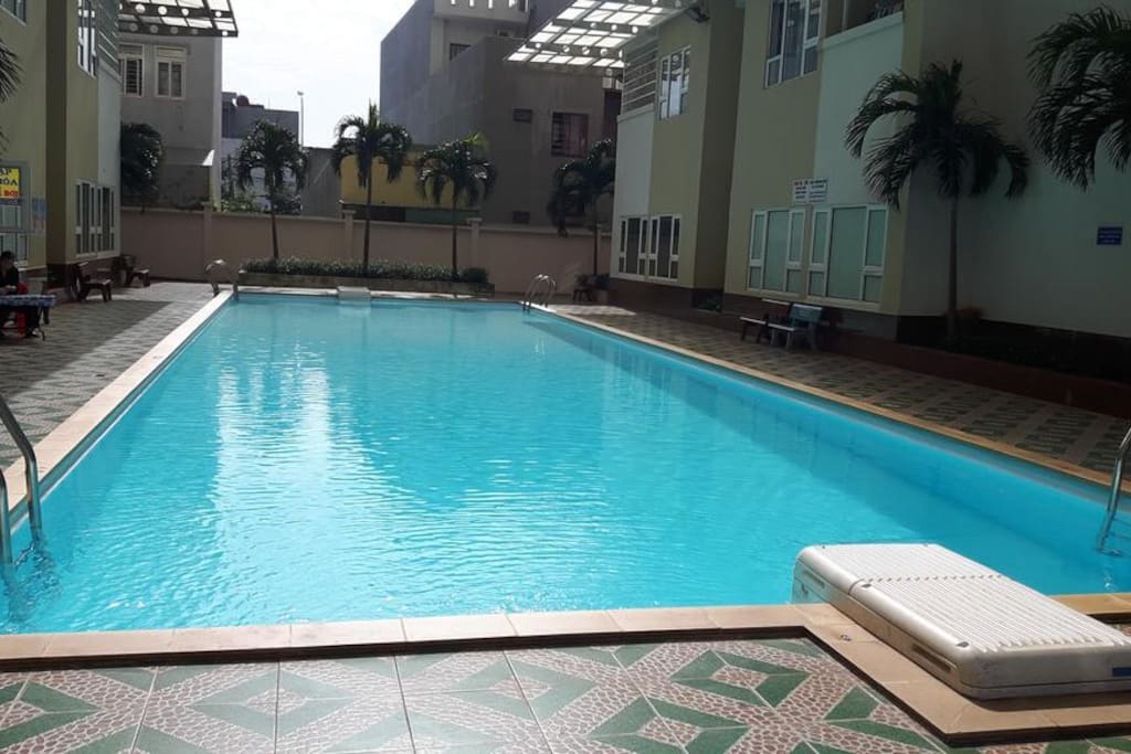 The swimming pool at the ground floor