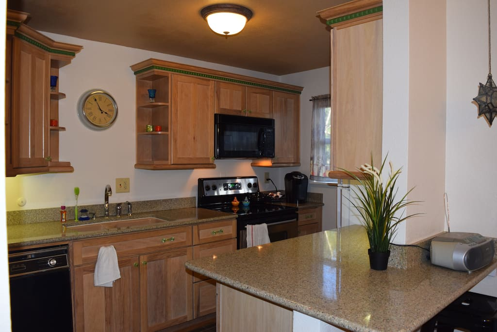 Furnished Kitchen, Stove, Fridge, Microwave, Coffee Maker and Dishwasher - complimentary coffee, tea, sweeteners and cream