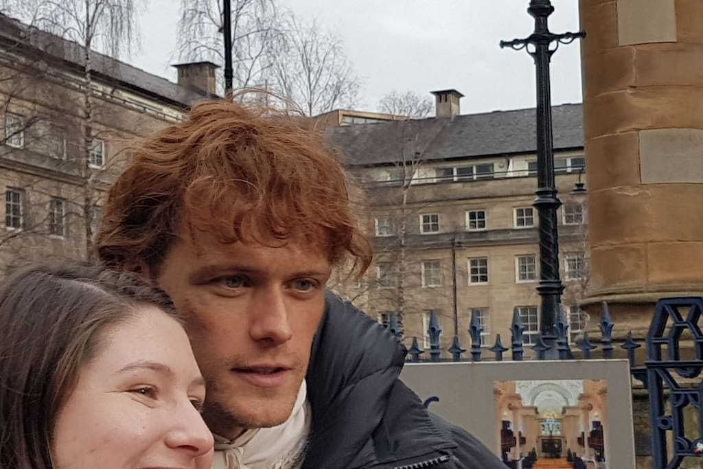 Sam Heughan from Outlander was filming the new series outside the apartment in the church.