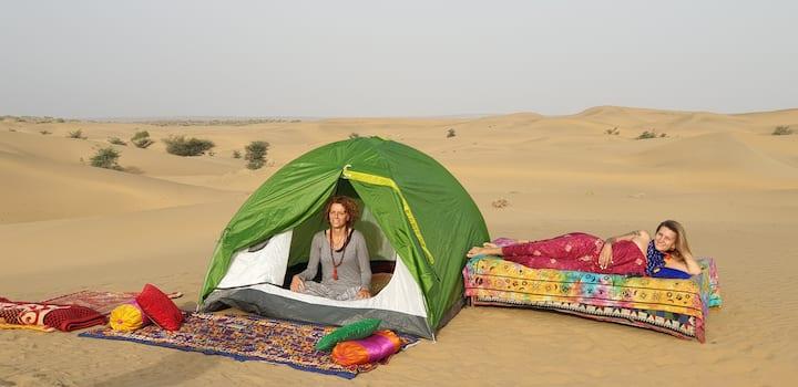 sleep under the star on the dunes deep in desert