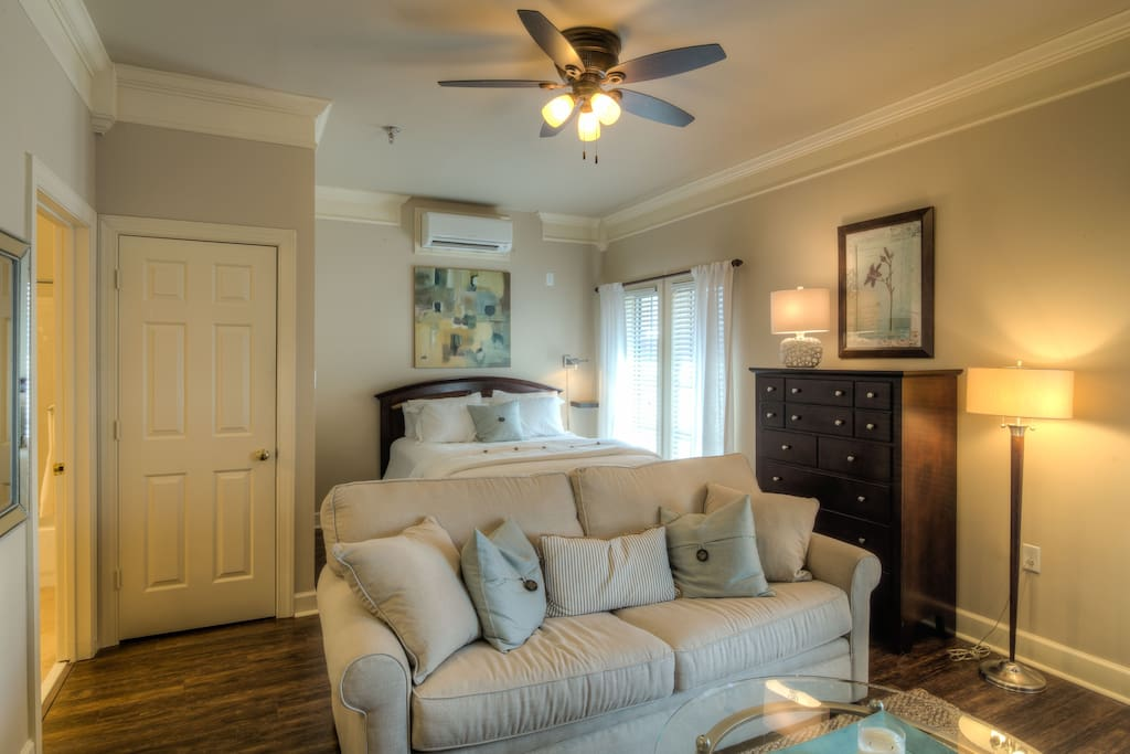 With a separate sitting area and a queen bed for sweet dreams.