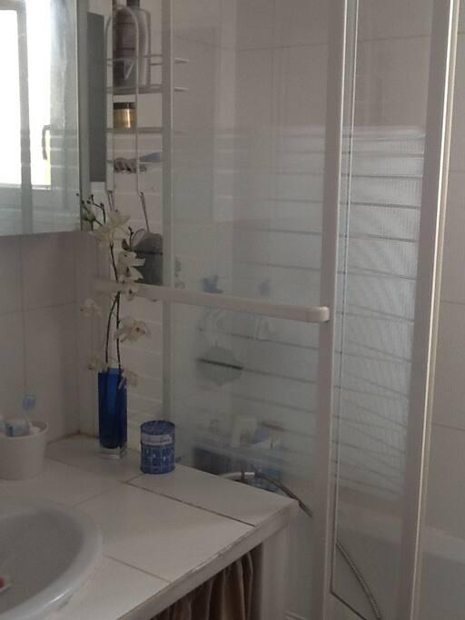 salle de bains avec baignoire, a partager entre les 2 chambres