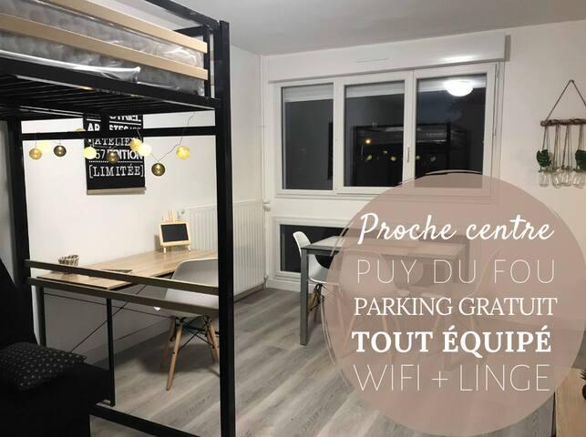 Studio Moderne - proche Centre-ville & Puy du Fou