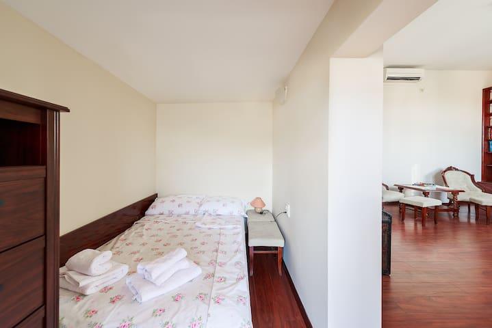 The niche with double bed for sleeping