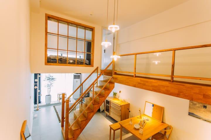 【己度-沐风】LOFT日系两室/可做饭/近商圈