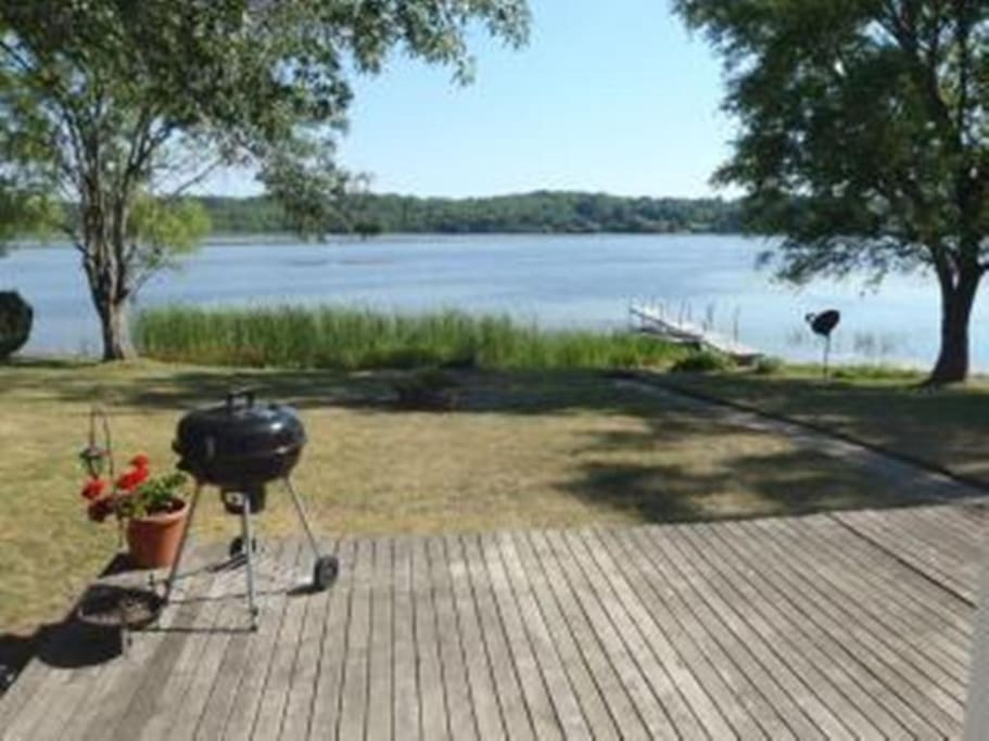Back deck with dock and row boat access.