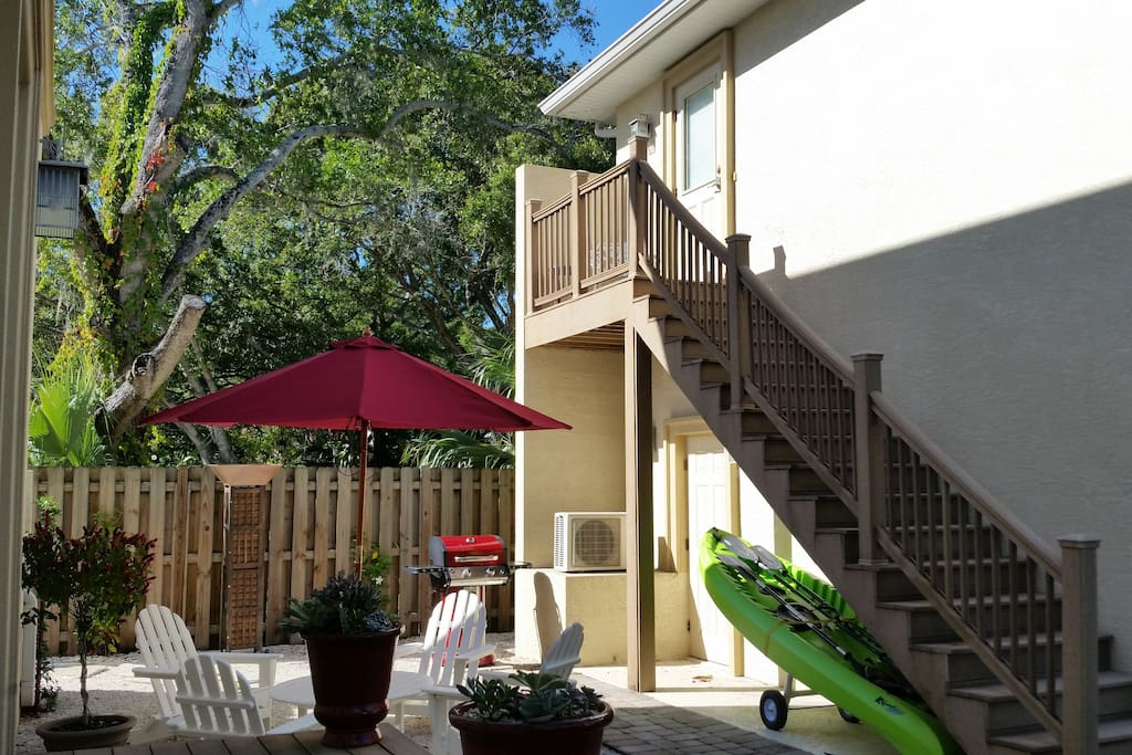 The Carriage House Vacation Rental is at the top of the stairs.