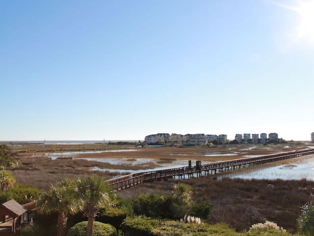 Panoramic Ocean View Across Salt Marsh Nature Preserve/View from Balcony