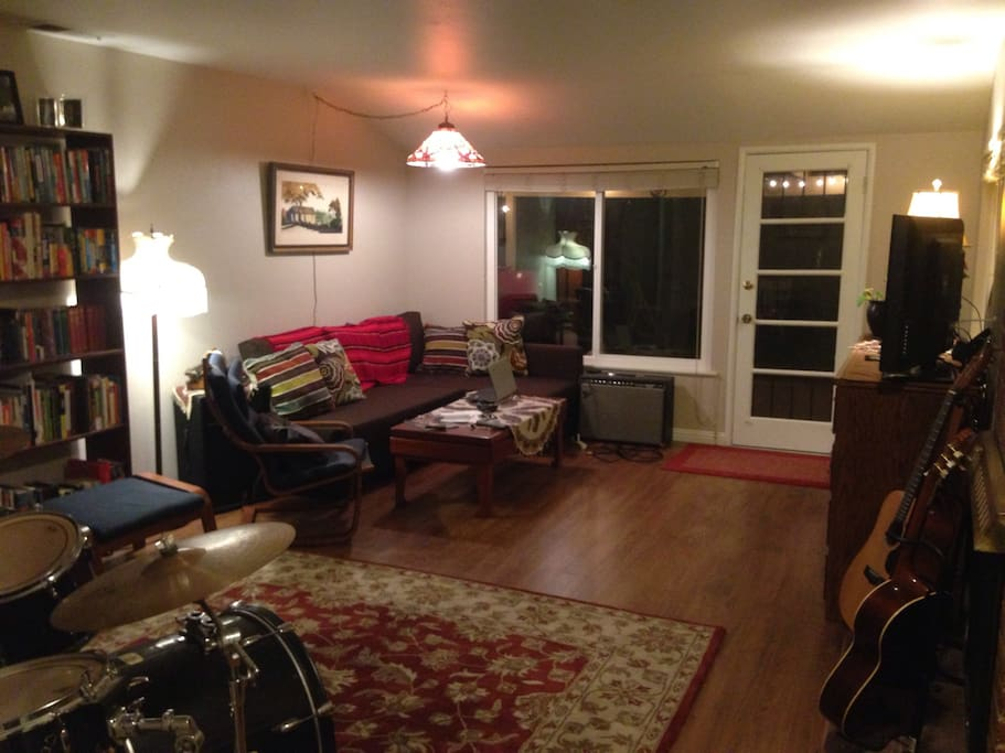 The living room and music studio