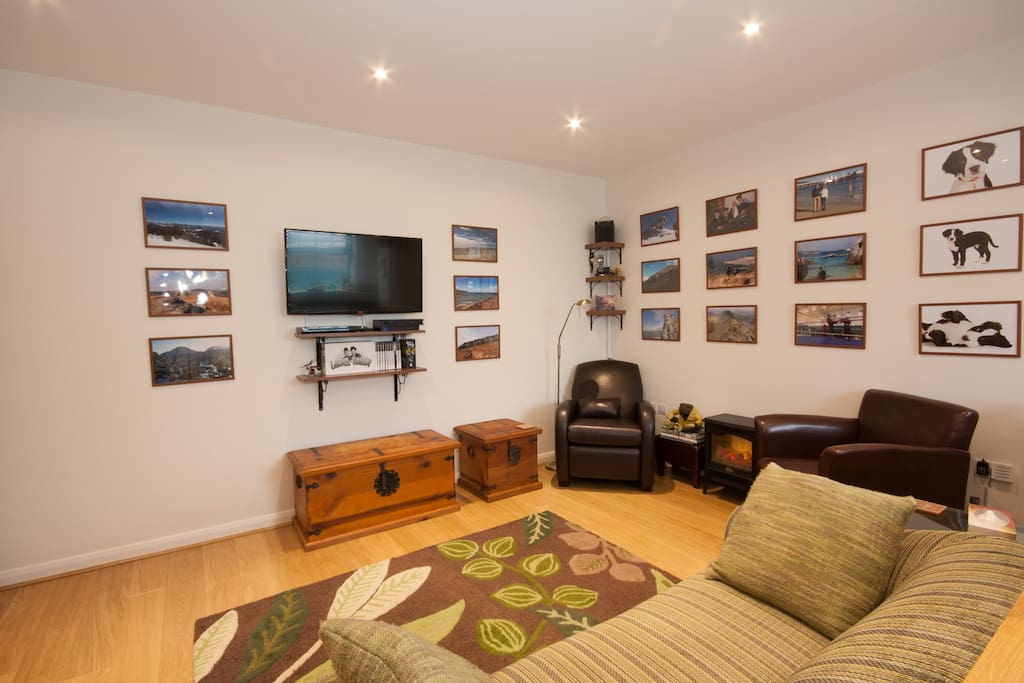 """Wall mounted 42"""" TV with Freeview and DVD player."""