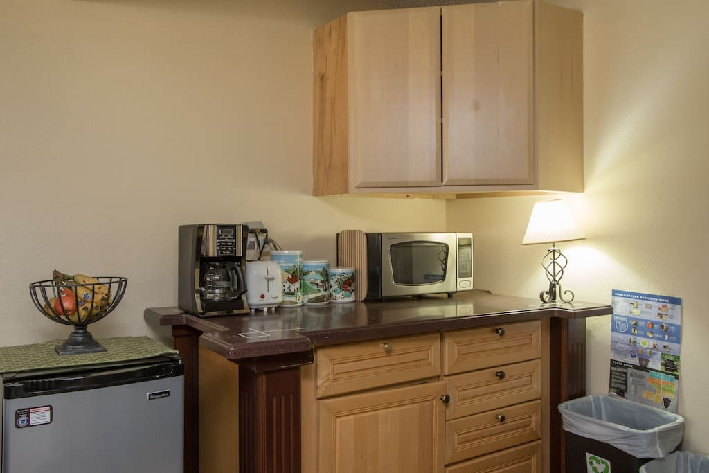 Kitchenette for breakfast prep and simple meals.