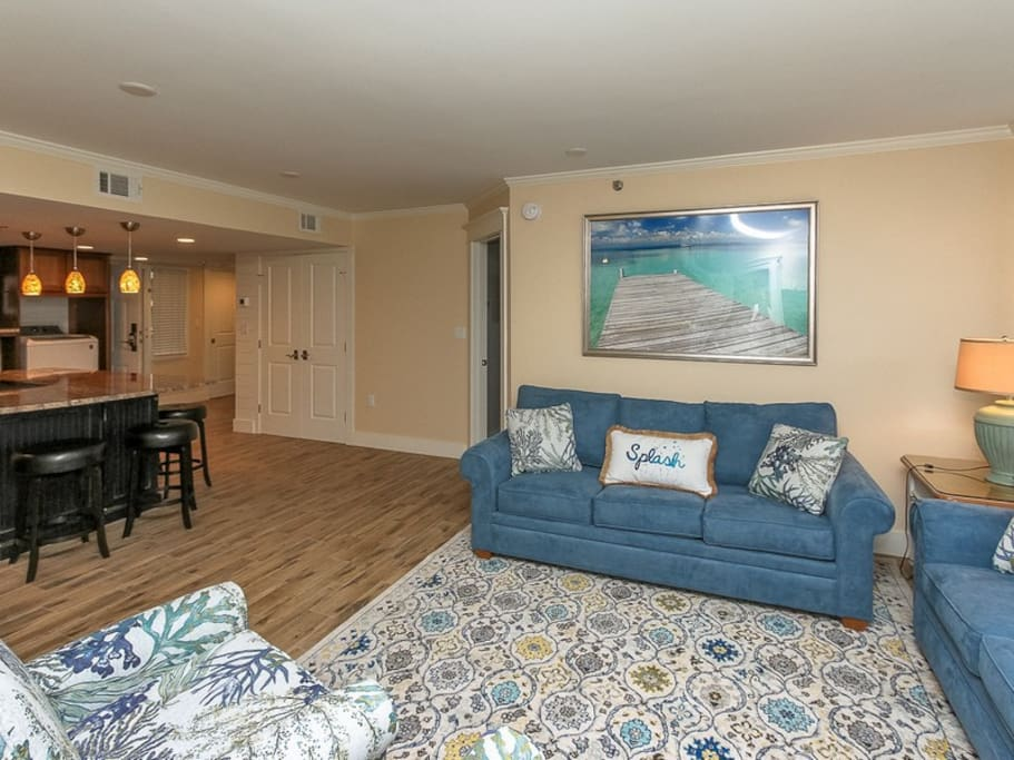 Living Area at 1406 Villamare with Direct Ocean Views