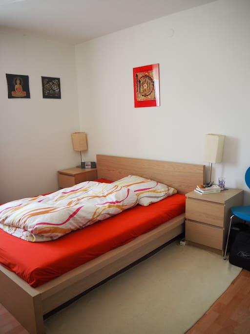 Schlafzimmer mit 160 cm Bett.