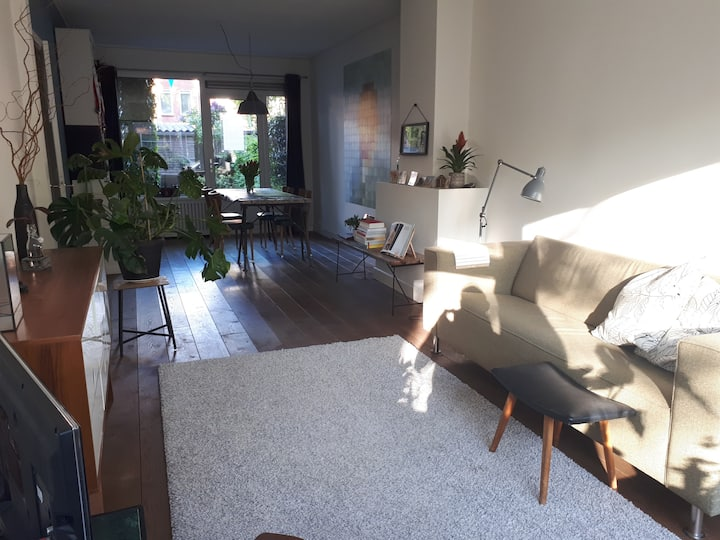 House near station & center, 2 beds. Free parking.