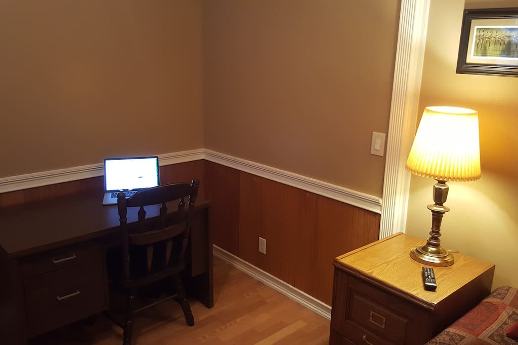 Home office desk and chair, wireless Internet.