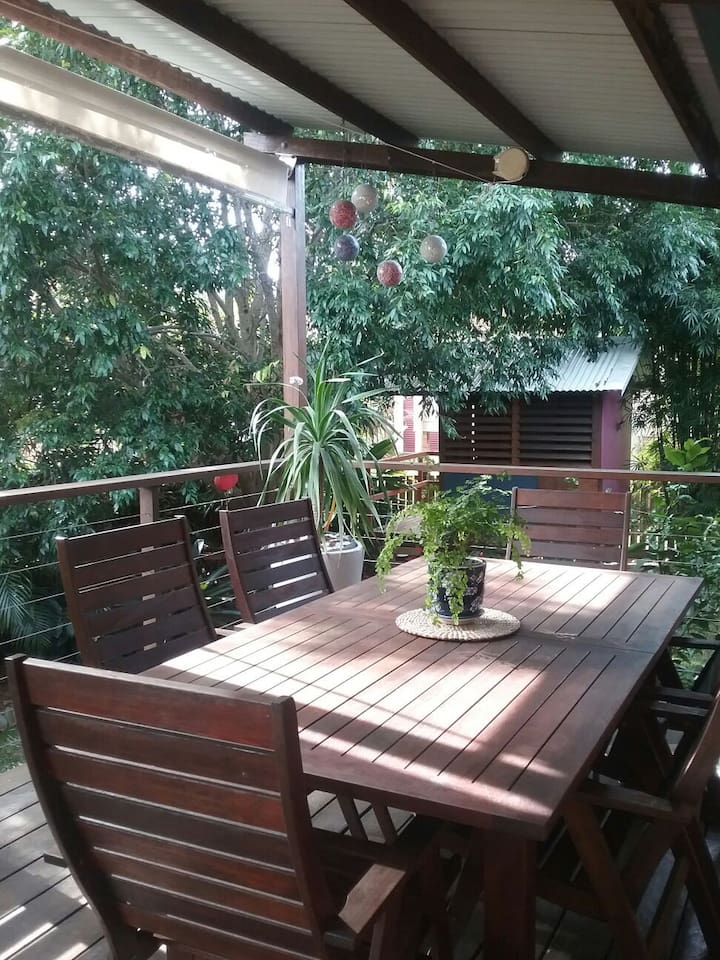 Back deck and garden