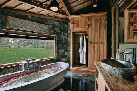 Wooden House de un dormitorio con vista a la piscina