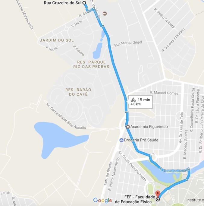 15 min de bicicleta até a UNICAMP!