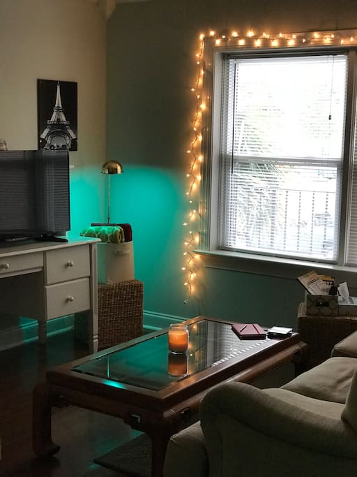 Living Room with great lighting and Smart TV