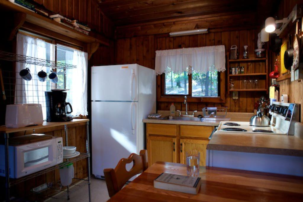 Each cabin has a full service kitchen with all the cookware and dishes you need to cook while away from home.