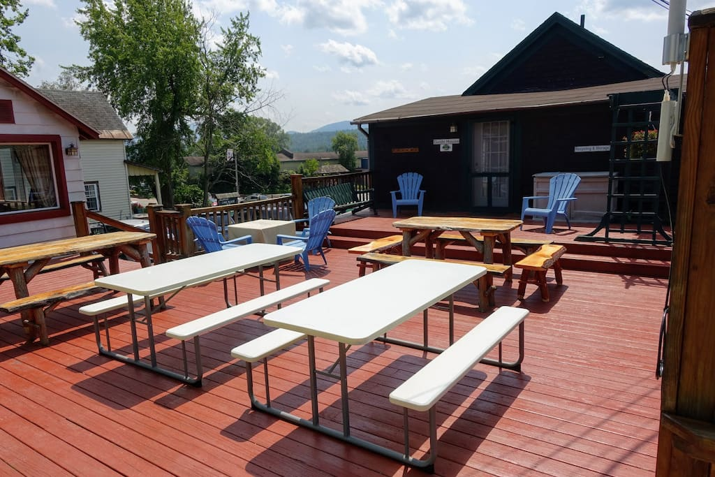 Big deck shared with High Peaks House.  Beautiful mountain views.  Just up from Main St and close to town and the beach and arena, etc.