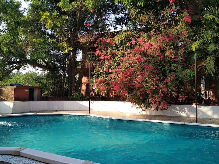 Cool place to relax.with garden and swimming pool.