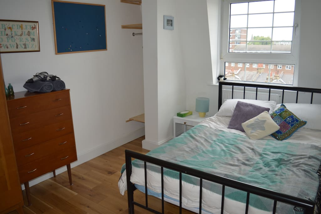The bedroom with the double bed