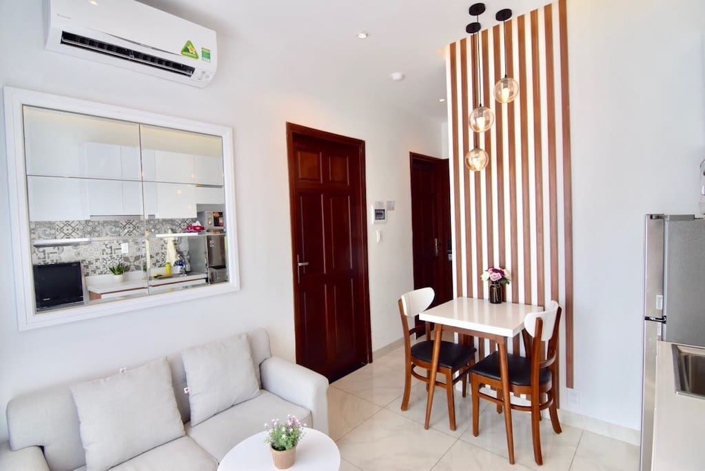 Your room with natural light, private working desk, private fridge, clean beddings and towel