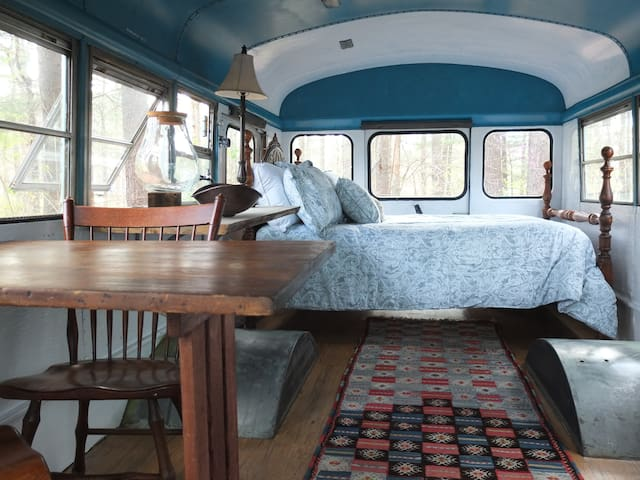 Romantic Bus in the forest