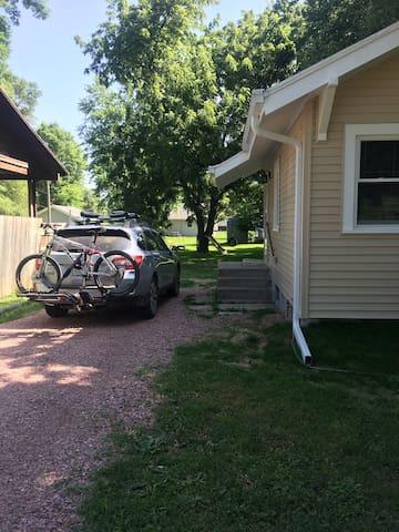 Parking is just steps away from back door.