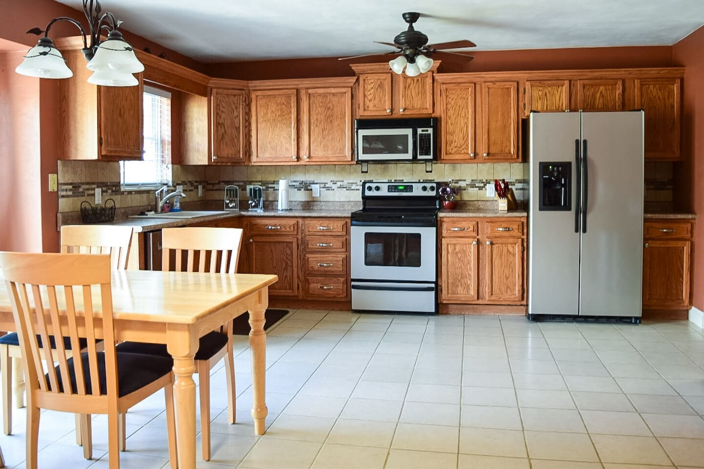 Open kitchen to the living room. Save money by whipping up breakfast, lunch, and dinner here!