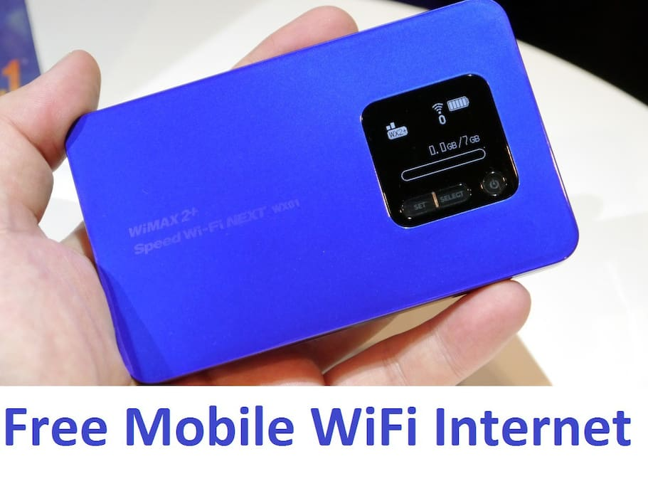 Free high-speed wireless Internet with unlimited usage - portable WiFi router type with 8 hour battery life!