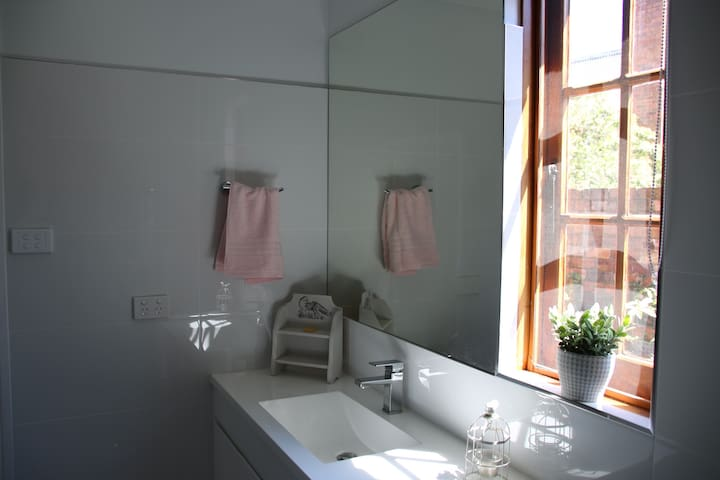 Polished tiles and new bathroom accessories