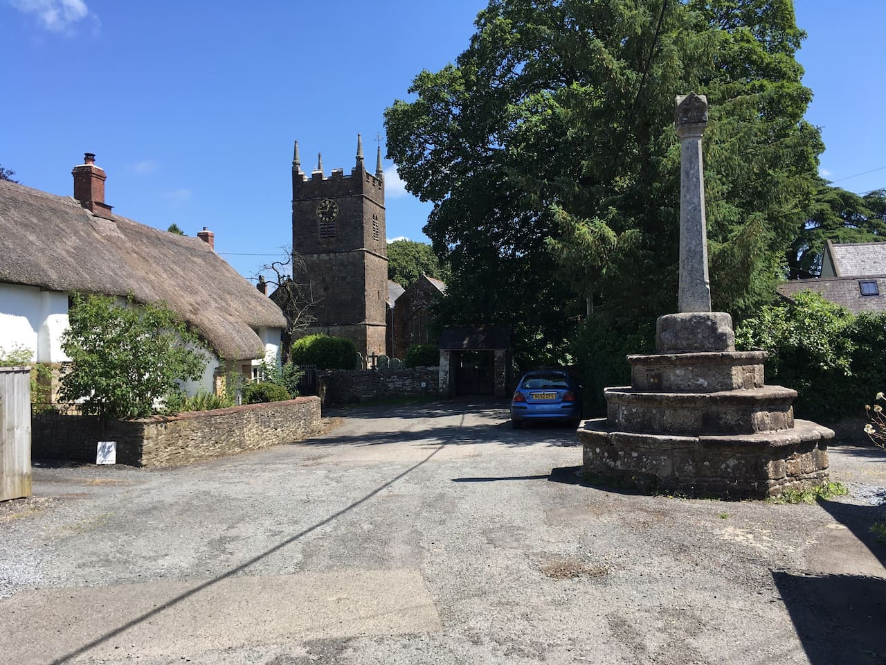 Northlew church and market cross.