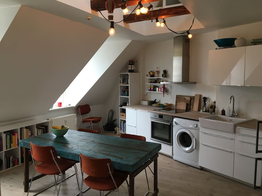 The kitchen has a washing machine, a dish washer and all the equipment you need in a kitchen